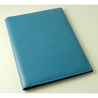 Budd Leather On the Go Pebble Grain Letter Size Pad Cover; Blue