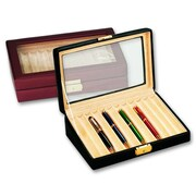 Budd Leather Men's 12 Pen Box with Glass Top; Black