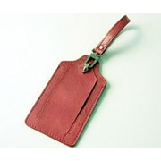 Budd Leather Distressed Leather Luggage Tag; Pink