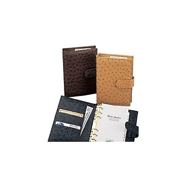 Budd Leather European Bidente Genuine Ostrich Time Management Book; Black