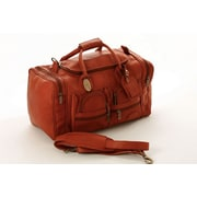 Claire Chase Executive Sports 17'' Leather Travel Duffel; Caf