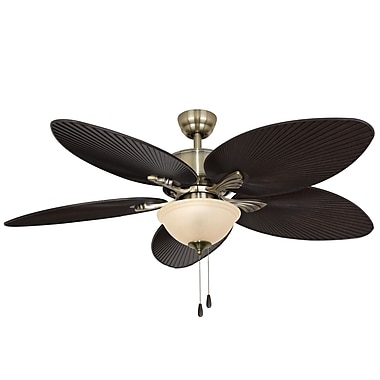 Calcutta 52'' Palmira Bowl Light 5 Blade Ceiling Fan ; Aged Brass