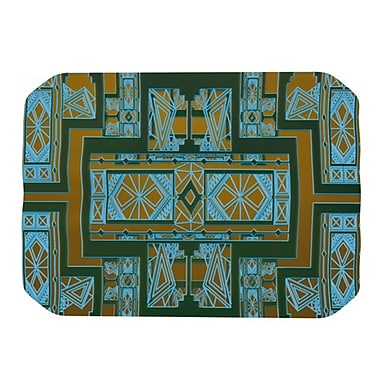 KESS InHouse Golden Art Deco Placemat; Green and Blue