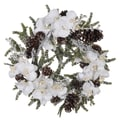 House of Silk Flowers Artificial Iced Phalaenopsis Orchid / Pine Wreath