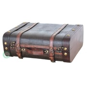 Quickway Imports Wood Leather Suitcase
