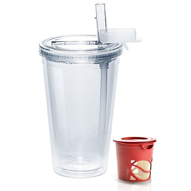 AdNArt Ice Tea Insulated Tumbler; Clear / Red