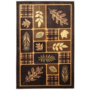 Brumlow Mills Rustic Leaves Chocolate & Natural Area Rug; 2'6'' x 3'10''