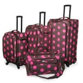 American Flyer Ibiza Dots 4 Piece Luggage Set; Brown Pink