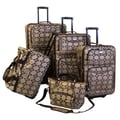 American Flyer Argyle 5 Piece Luggage Set; Brown
