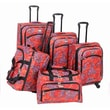 American Flyer Paisley 5 Piece Luggage Set; Red