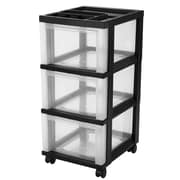 Iris 3-Drawer Medium Cart with Organizer Top, Black/Clear
