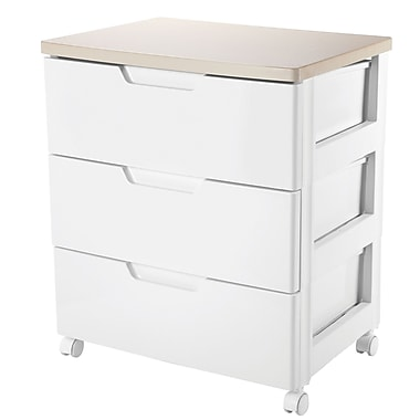 IRIS 3-Drawer Premier Designer Chest, Natural Wood/White