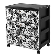 Iris 3-Drawer Premium Designer Chest, Black/Design