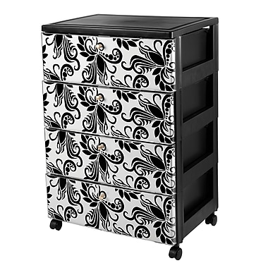 Iris 4-Drawer Premium Designer Chest, Black/Clear