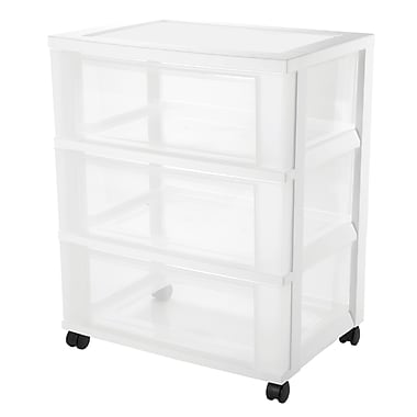 Iris 3-Drawer Wide Storage Card, Clear/White