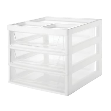 Iris 3-Drawer Scrapbook Table Chest Organizer Top, White/Clear