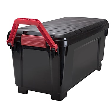 Iris 42.25 GAL Store-It-All Tote with Wheels, Black/Red