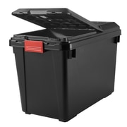 Iris 25.5 GAL Store-It-all Tote with Lid , Black/Red