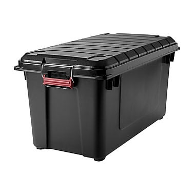 Iris 21.8 GAL Store-It-All Air Tight Tote, Black/Red