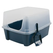 Iris Cat Litter Box Half Hood with Scoop, Navy/Clear