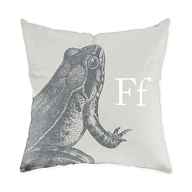 Checkerboard Frog Throw Pillow; Warm Grey