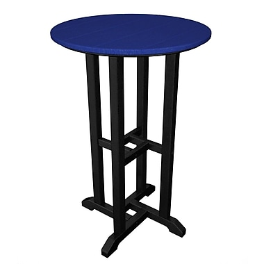 POLYWOOD Contempo Bar Table; Black & Pacific Blue