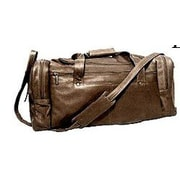 David King 19'' Leather Classic Travel Duffel Bag; Cafe / Dark Brown