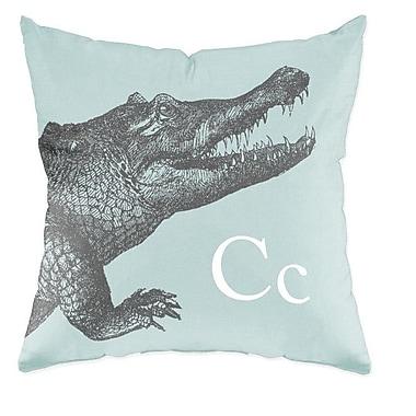 Checkerboard Crocodile Throw Pillow; Light Blue