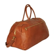 Aston Leather 24'' Leather Gym Bag; Tan