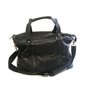 R&R Collections Double Handle 11'' Leather Weekender Duffel; Black