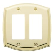Baldwin Colonial Design Double GFCI Switch Plate; Polished Brass