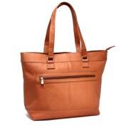 Le Donne Leather Laptop Zipper Leather Briefcase Tote Bag; Tan