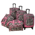 American Flyer Animal Print 5 Piece Spinner Luggage Set; Zebra Pink