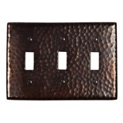 The Copper Factory Hammered Copper Triple Switch Plate; Antique Copper