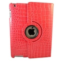 Bargain Tablet Parts Ipad 2 and Ipad 3 Crocodile Rotating Case; Hot Pink