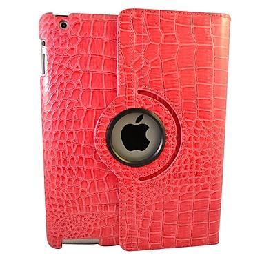 Bargain Tablet Parts Ipad 2 and Ipad 3 Crocodile Rotating Case; Hot Pink