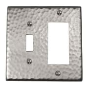 The Copper Factory Hammered Copper Single Switch and GFCI Combination Plate; Satin Nickel