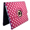Bargain Tablet Parts Ipad 2 and Ipad 3 Polka Dot Rotating Case; Hot Pink