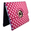 Bargain Tablet Parts Ipad 2 and Ipad 3 Polka Dot Rotating Case; Hot Pink
