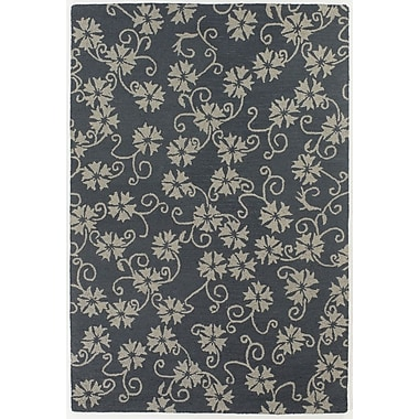 Chandra INT Blue/Ivory Floral Leaves Area Rug; 7'9'' x 10'6''