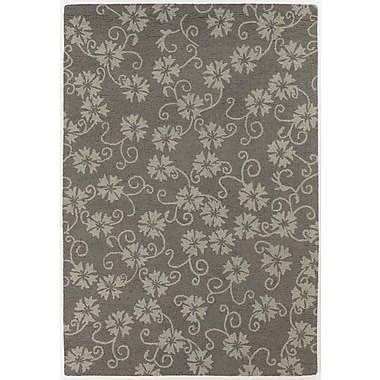 Chandra INT Gray/Beige Floral Leaves Area Rug; 5' x 7'6''