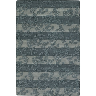 Chandra INT Olive/Light Gray Floral Stripe Area Rug; 7'9'' x 10'6''