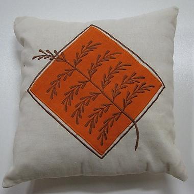 New Spec Embroidery Grain Cotton Throw Pillow; Orange
