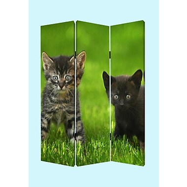 Screen Gems 72'' x 48'' Curious Cat 3 Panel Room Divider