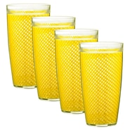 Kraftware Fishnet 24 Oz. Double Wall Insulated Tumbler (Set of 4); New Yellow