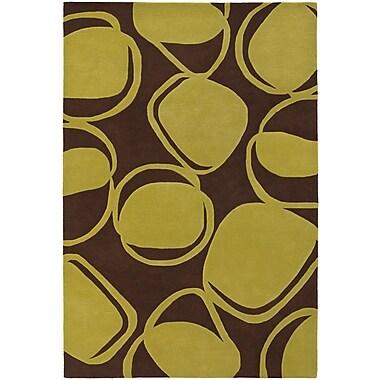 Chandra Inhabit Designer Brown/Green Area Rug; 7'9'' x 10'6''