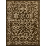 Chandra INT Brown/Tan Floral Border Area Rug; 7'9'' x 10'6''