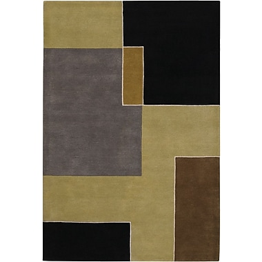 Chandra Bense Garza Black/Grey Area Rug; 5' x 7'6''