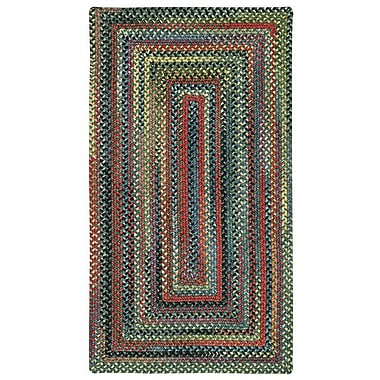 Capel High Rock Green Striped Area Rug; Concentric Square 7'6''