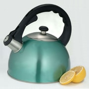 Creative Home Satin Splendor 2.8 Qt. Whistle Tea Kettle; Metallic Aqua